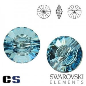3015 Swarovski Button - guziki AQUAMARINE 12 mm