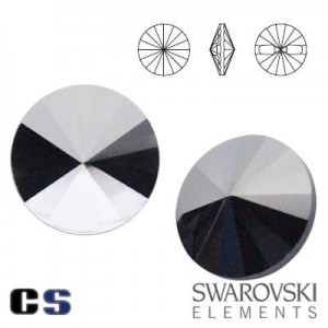 3015 Swarovski Button - guziki JET HEM 10 mm