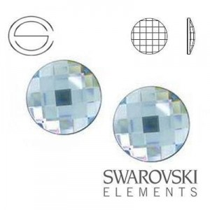 2035 Swarovski Chessboard Circle AQUAMARINE F 6 mm