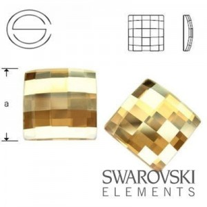 2493 Swarovski Chessboard Crystal GOLDEN SHADOW 10 mm